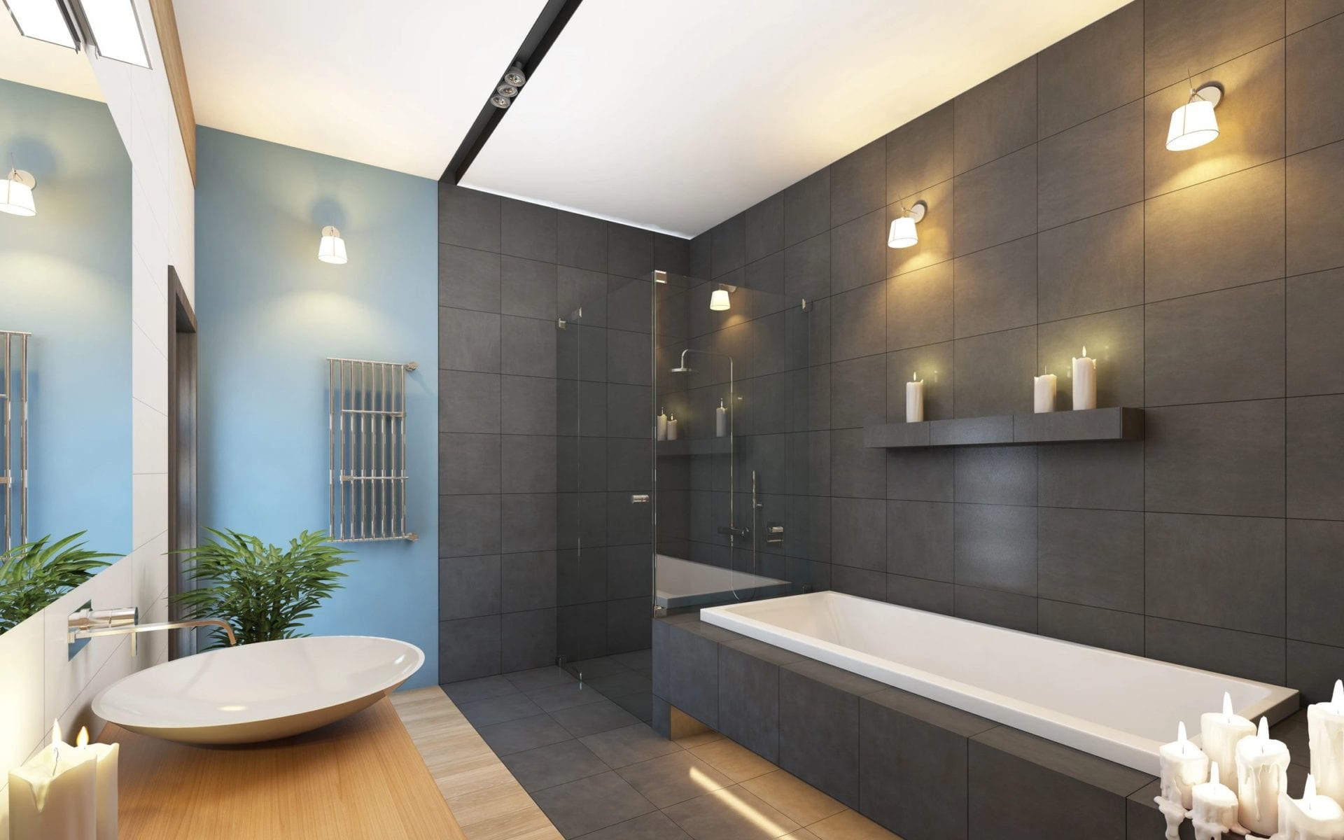 Modern bathroom space with elegant lighting and well-planned electrical systems
