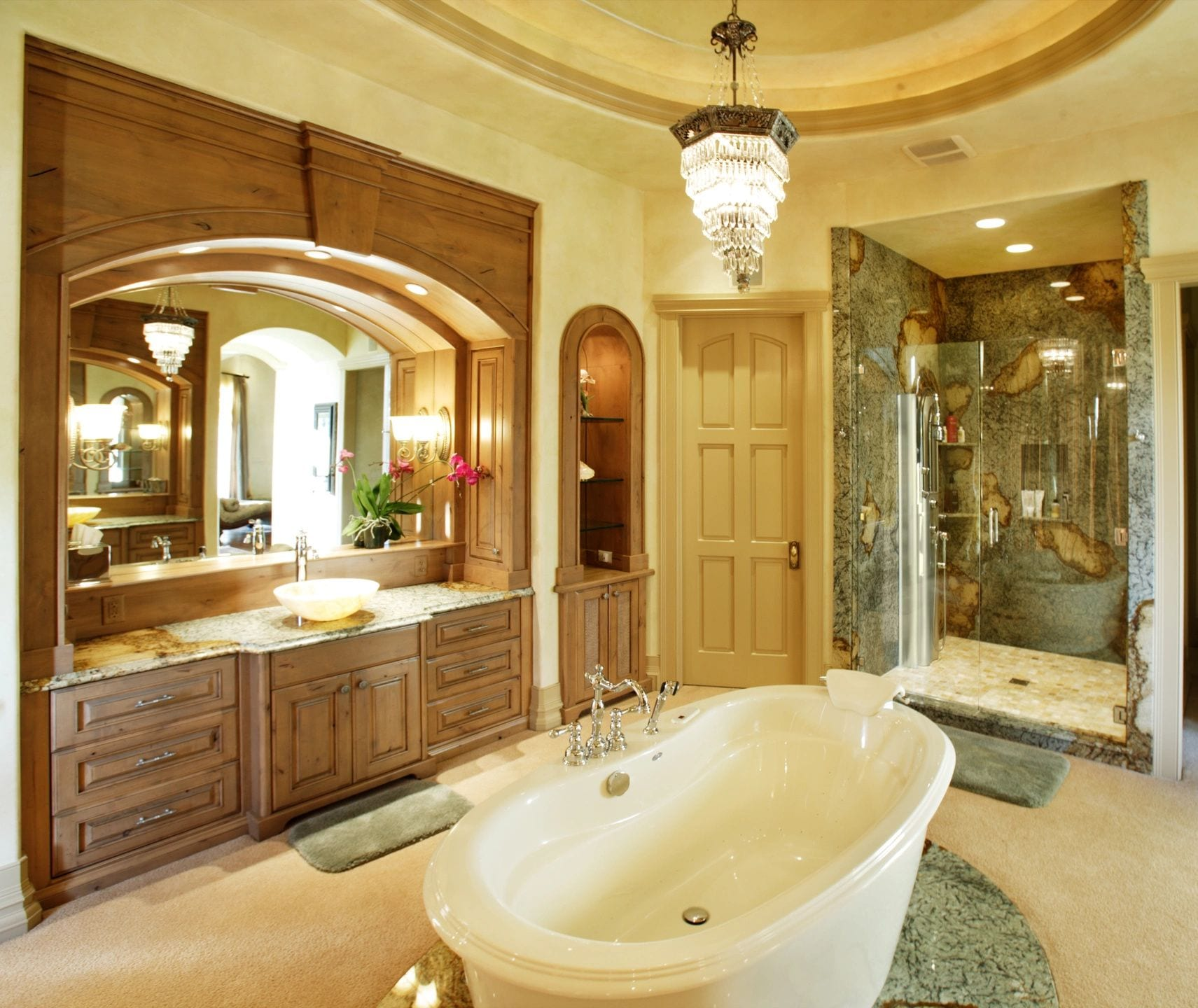 Sophisticated bathroom space with elegant lighting and well-planned electrical systems